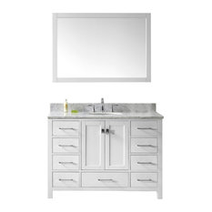 Caroline Avenue 48-inch Single Bath Vanity White Marble Top And Round Sink Mirror