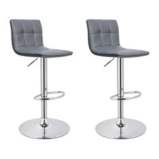 MOD - Clarke Faux Leather Adjustable Bar Stools, Set of 2, Gray - Bar Stools and Counter Stools