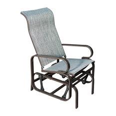 SunLife   Sunlife Outdoor Garden Rocking Chair, Steel Frame Patio Rocker  Gliders, Gray
