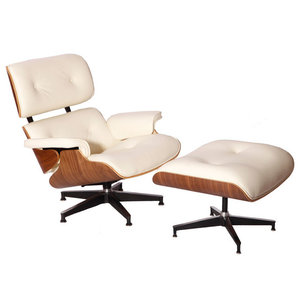 Aniline Leather Lounge Chair and Ottoman, Seat: White, Base: Walnut