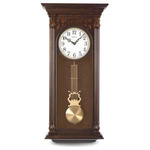 Bulova Mayfair Pendulum Chiming Wall Clock Antique Walnut