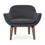 Plywood Chair with Walnut Base, Dark Gray Camira Wool