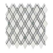 Carrara Lattice, Thassos, Ming Green, Honed Mosaic Marble From Italy, 10 SqFt