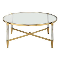 Round Tempered Glass Cocktail Table - Clear Brass