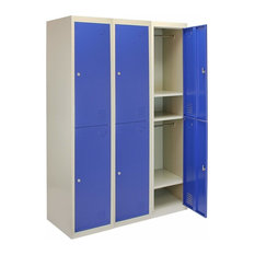 Storage Unit, Blue-Grey Finished Metal With 6-Door, Hanging Rail and Shelves