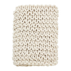 """Chunky Cable Knit Premium Wool Woven Throw Blanket, 50""""x60"""", Ivory"""