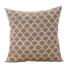 Jute Trellis Cotton Decorative Cushion Cover, Beige, 60x60 cm