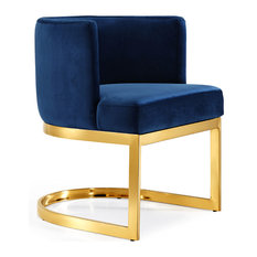 Gianna Velvet Dining Chair, Navy, Gold Base