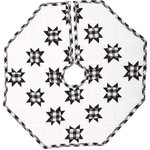 "VHC Brands - Emmie Black 21"" Patchwork Mini Tree Skirt - Countrify your Christmas this year with the 21"" Emmie Black Patchwork Mini Tree Skirt. A holiday significant 7 rows of 8-point stars are placed on a bright white background. Reverses to the black and white check found inside the stars. 100% cotton, hand-quilted."