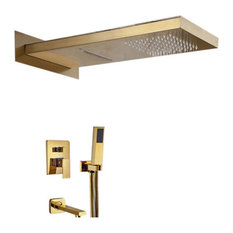 Gold Wall Mount Shower Set With Handheld Shower Head and Tub Faucet Spout