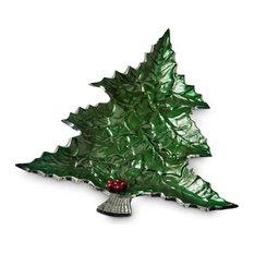 """Holly Sprig 16"""" Tree Platter, Emerald"""