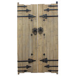 golden Lotus - Chinese Vintage Iron Hardware Door Gate Wall Tall Panel Hcs5352 - This is an old Chinese house door gate with iron hardware as an accent. It has been restored on the surface with nice wood patina. It can be used as a wall decoration or as a room divider.