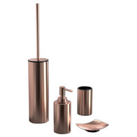 Rose Gold Four Piece Bathroom Accessory Set