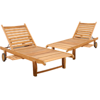 Amazonia Cairo 2-Piece Patio Loungers | Certified Teak | Ideal for Outdoors