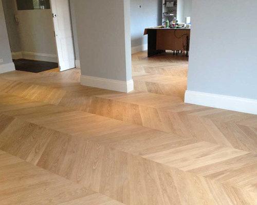 Sanding Sealing Herringbone Oak Flooring In South London