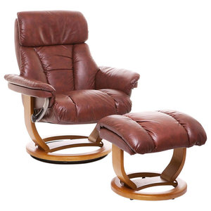 Modern Recliner Swivel Chair with Footstool, Leather and Wooden Base, Brown