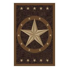 """Texas Star Western Rustic Cowboy Decor Brown Black Anti Skid Oval Rug, 3'3""""x5'"""