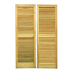 """Solid Wood Louvered Shutters, 15"""" W X 47"""" H,  1 Pair"""