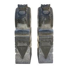 Chinese Pair Gray Black Stone Fengshui Foo Dogs Door Block Drum Statue Hcs4769