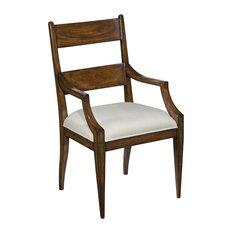 Dining Arm Chair Woodbridge Dalton Santa Fe Wood Beige Fabric