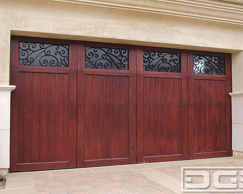 Mediterranean Revival 03 | Carriage House Garage Door In Solid Mahogany  Overlay!   Windows And