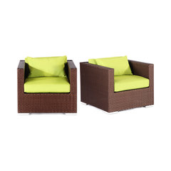 Outdoor Arm Chairs, Hilo, Espresso Wicker, Set Of 2, Lime Green. Cape May  Wicker Furniture