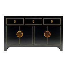 Oriental Oyster Grey Large Sideboard With Cupboards and Drawers, Blue/Gold