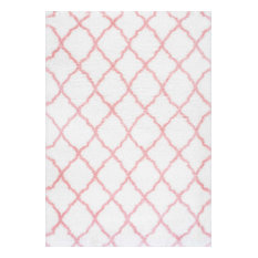 """nuLOOM - Soft and Plush Cloudy Shag Trellis Rug, Baby Pink, 3'3""""x5' - Kids Rugs"""