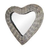 Wicker Heart Shaped Wall Mirror, 42x47 cm