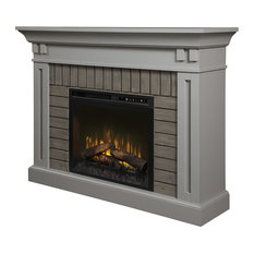 Dimplex Madison Mantel Electric Fireplace with Logs in Stone Gray