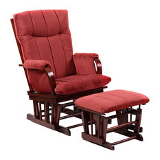 Home Deluxe Glider Chair and Ottoman, Marsala