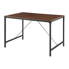 48-inch Industrial Wood Dining Table - Dark Walnut