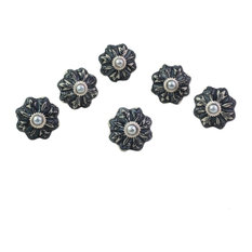 Flower Harmony in Gray, Set of 6 Ceramic Cabinet Knobs, India