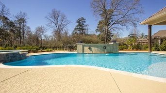 Freeform Swimming Pool with Travertine and Feature Wall