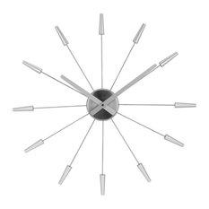 Plug Inn Stainless Steel Wall Clock, Silver