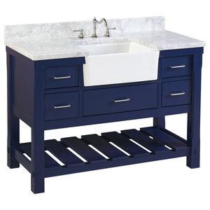 """Charlotte Bathroom Vanity, Royal Blue, 48"""", Carrara Marble Top, Single Sink"""