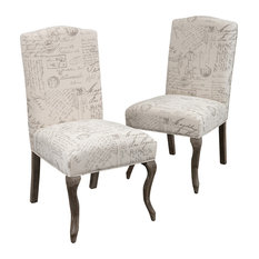 GDF Studio Crown Back French Script Beige Fabric Dining Chairs, Set of 2