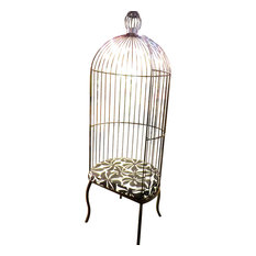 Romantic Victorian Cottage Birdcage Chair, Tall Balloon Canopy Indoor Outdoor