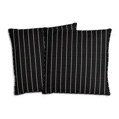 """Stripe Outdoor Throw Pillows, Set of 2, Chalk, 18""""x18"""""""