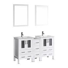 """60"""" Bosconi Double Vanity, White"""