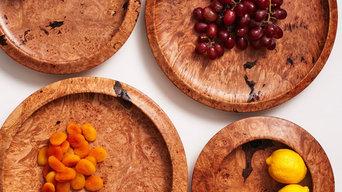Hand-Turned Maple Burl Wood Platters
