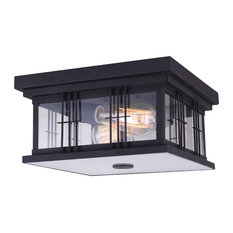 Canarm Yuna 2 Outdoor Flush Mount Light, Black With Clear Glass and Diffuser