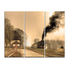 """Retro Steam Train"" Photography Canvas Print, 3 Panels, 36""x28"""