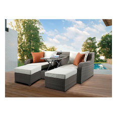 Acme Salena Patio Sectional 2 Ottomans With 2 Pillows Beige Gray