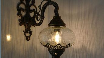 Turkish Morrocan Crackle Glass Wall Light, Wall Sconce