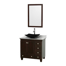 "36"" Acclaim Single Vanity, White Carrera Marble Top, Arista Black Granite Sink"