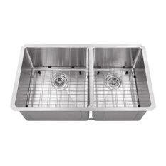 """Undermount 32"""" 60/40 Bowl Radius Corner 16-Gauge Stainless Steel Kitchen Sink"""
