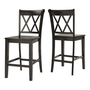 Arbor Hill X Back Counter Chair, Set of 2, Antique Black