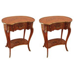 Consigned Pair of Louis XV Side Tables - Consigned pair of Louis XV Style Side Tables. Each table has a kidney shaped top, with exquisite floral rosewood, kingwood, mahogany and satinwood marquetry, one single drawer and cabriole legs conjoined by a lower tier. The tables were made in France at the beginning of the 20th century.