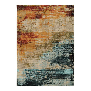 "Oriental Weavers Sedona 6365A Blue/Red Abstract Area Rug, 5'3""x7'6"""